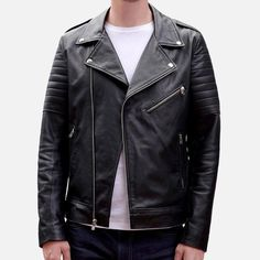 Atlas Biker Jacket - Full-grain leather - Black