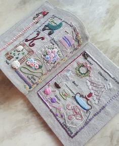 #프랑스자수 스티치북 완성하는데 생각보다 시간이 너무 오래걸렷다. 처음 시작할때는 이렇게 시간을 많이 ... Shabby Chic Embroidery, Embroidery Sampler, Embroidery Stitches, Hand Embroidery Projects, Hand Embroidery Patterns, Stitch Book, Cross Stitch, Quilt Stitching, Handmade Books
