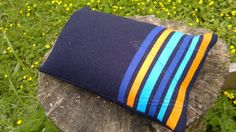 Navy Wool Stripes Cushion / Pillow by WoollyLakes on Etsy, £18.00