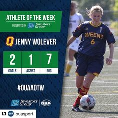 #Repost @ouasport  Big weekend for Jenny Wolever and the No. 6 ranked @queensgaels #OUAAOTW