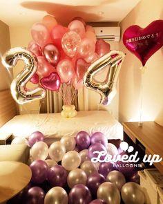 24歳のお誕生日サプライズ!ホテルの客室を風船でいっぱいに飾り付けしました♪ 出張バルーンデコレーション専門サービス|Loved up balloons