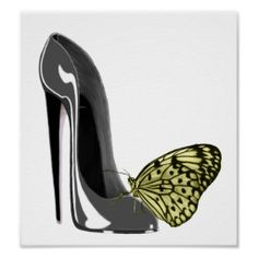 Grey Stiletto High Heel Shoe and Yellow Butterfly  Poster