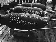 John Florea 500 lb General Purpose Bombs on the Deck of a Ship during the Tarawa Battle, 1943