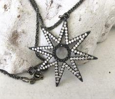 Ketten kurz - kurze feine Kette - star - black - Echtsilber - ein Designerstück von moanda bei DaWanda