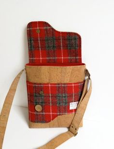Cork and Red Harris Tweed Messenger Bag Shoulder Bag Eco