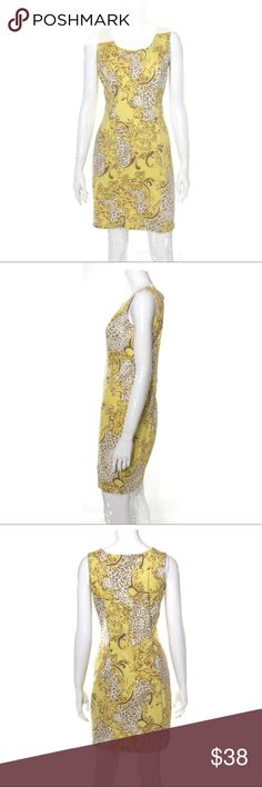 90s Yellow Leopard Print Baroque Pencil Dress Flattering darting through the bust and rear, gently squared neckline. Length hits slightly above the knee on most wearers. Back zipper closure.    Bold leopard & baroque swirl print. Body features shades of pale yellow/gold, beige, white and blue. 97% Cotton 3% Spandex-light/medium weight stretch fabric, unlined. Made in Taiwan. Super cool, hip-hop royalty inspired bold print!    Tagged size 6, fits true to size, best suited for a US size Small…