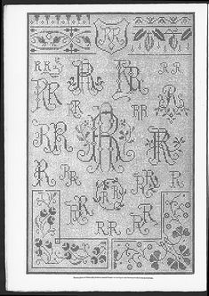 Cross stitch monograms and borders, some Art Nouveau.   (visit site for bigger picture)  Gracieuse. Geïllustreerde Aglaja, 1911, aflevering 18, pagina 16