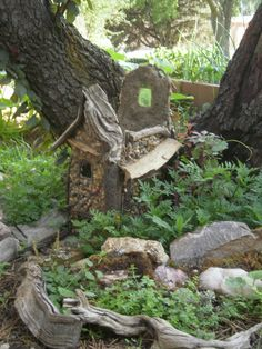 "The fairy house I'm making for my veggie garden. It just needs a roof. The idea came from a movie I saw on Netflix called ""Gateway to Faeries"". Outdoor Stuff, Outdoor Decor, Fairy Houses, Fairy Gardens, Botany, Faeries, Gnomes, Yards, Netflix"