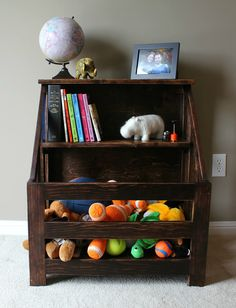 DIY Wood Toybox with bookcase.  Looks great and super functional!