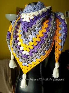 Chèche Granny Square - Les Broderies et Tricots de Mayleen Crochet Granny, Crochet Shawl, Crochet Baby, Granny Square, Couture, Crochet Clothes, Crochet Patterns, Quelque Chose, Diy