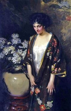 Irving R. Wiles - Brown Kimono (Portrait of Kathryn Beta la Forque) - - Smithsonian American Art Museum - Category:Paintings by Irving Ramsey Wiles - Wikimedia Commons Portraits, Portrait Art, Figurative Kunst, Art Japonais, Whistler, Western Art, Beautiful Paintings, Figure Painting, American Artists