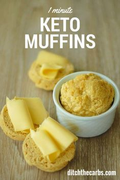 1 minute keto muffins are fluffy and versatile sweet or savoury. Take a look, you will love them. | ditchthecarbs.com