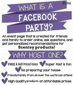 Anyone interested in hosting a Facebook party? Please contact me or visit my website. http://idagrover.scentsy.us