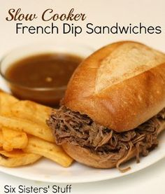 Three-Step French Dip Sandwiches | AllFreeSlowCookerRecipes.com