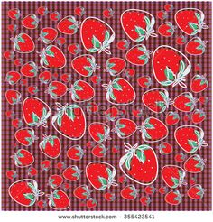 Seamless pattern of strawberries vector illustration - stock vector
