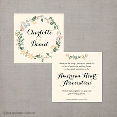 50 Wedding Favor Donation Cards In Lieu Of Favors