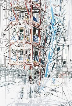 British artist Richard Galpin works exclusively with images of urban architecture. Meticulously, using only an X-Acto knife, he cuts out & removes the top layer of large-scale architectural photographs into geometrical forms and lines. Some of the original architecture's elements are removed entirely, leaving only the white bottom layer of the photographic paper, while others remain in place and merge to form new constructs.