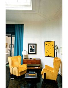 Décor Atelier Florence Lopez/if you a good deal on something and it's a bold color, add something else in that color and it looks intentional-buy an ugly painting, paint it over with that color and stencil on random shapes, like here....just an idea