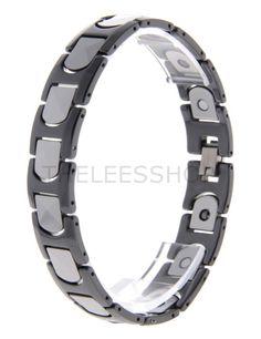 (YPBR013-BLACKSILVER) Mens Tungsten Two Tone Black Silver Link Polished Fashion Bracelet