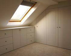 Ideas storage room closet under stairs Attic Bedroom Closets, Attic Bedroom Storage, Loft Storage, Small Space Bedroom, Attic Closet, Attic Bathroom, Bedroom Wardrobe, Attic Rooms, Attic Spaces