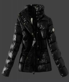 2015 New Moncler Womens Down Jackets Stand Collar Black Cheap Outlet
