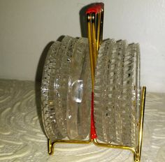 Crystal Vintage Coaster Hollywood Regency Set by JewelsRosesNRust