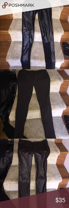 Hollister faux leather leggings Two pair of from Hollister and the other pair is from Dillards it's a leather look in the front and yoga in the back Hollister Pants Leggings