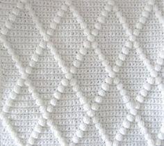 Crochet Diamond Bobble Baby Blanket - Choice of Colours - Handmade - Nursery