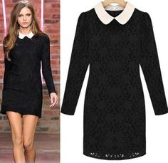 Morpheus Boutique  - Black Lace Celebrity Long Sleeve White Collar Pencil Dress, AU$77.90 (http://www.morpheusboutique.com/black-lace-celebrity-long-sleeve-white-collar-pencil-dress/)