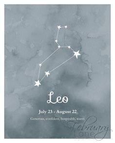 Leo Zodiac Constellation Wall Art Printable 8x10 by FebruaryLane