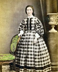 8 by 10 Civil War Photo Print Woman in Gingham Dress. Note the lovely belt and trim on the sleeve. Cheeks are colored as well