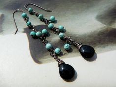 Blackwater earrings - sterling silver, black onyx and turquoise