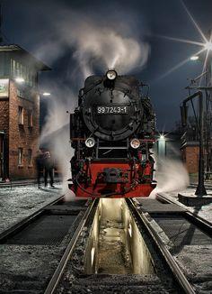 Photograph Mein täglich Dampflok-Bild by Jörn Hoffmann on Train Art, By Train, Train Tracks, Locomotive Diesel, Steam Locomotive, Steam Railway, Night Train, Old Trains, Train Pictures