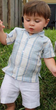 273bb8ce BOY LIGHT BLUE AND NATURAL LINEN SHIRT by ABYS KIDS Turquoise Shirt, White  Linen Shirt