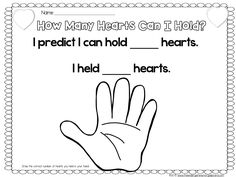 How many hearts can you hold?  Great for estimating and counting!  FREE recording sheet!