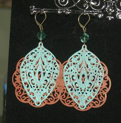 Filigree Earrings, Hand Painted by groovychickjewelry, $15.00