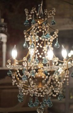 crystal chandelier, blue accents