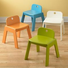 "Colorful set of chair/stools. Mojo Play Chair (Aqua) | The Land of Nod 14"" Seat height $69 each"