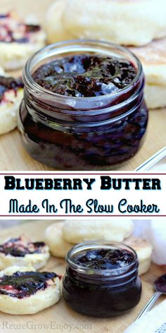 Have a bunch of blueberries you need to use? Grab the slow cooker and make this amazing blueberry butter! Jelly Recipes, Jam Recipes, Canning Recipes, Sweet Recipes, Dessert Recipes, Canning Tips, Desserts, Flavored Butter, Homemade Butter