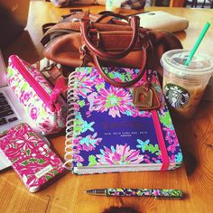College day planning! Lilly pulitzer planner, phone case, pencil case, Dooney & Bourke bag and some iced coffee! Yum.
