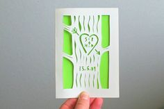 wedding congratulations card, paper cut, green, initials carved on a tree, forest, anniversary, wood