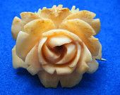 Vintage carved Ivory rose pin brooch / pendant  made in Austria Antique estate collection jewelry.