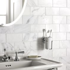 Marble metro tiles! my two favourites meet in one place well done Fired Earth