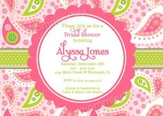Pink and Green Paisley Bridal Shower Invitation  by MommiesInk, $12.50