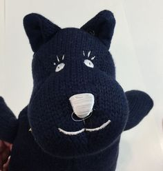 Knit Knack Dog #125 Navy Blue Yarn Plush Land of Nod 2006 North American Bear Co…