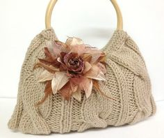 knitted bag purse taupe color