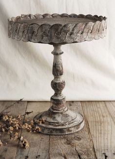 Antiqued  Metal 11 in. Round Pedestal Cake  Stand  --something to make with the spindles.  Could also be a candleholder--several made in various heights.