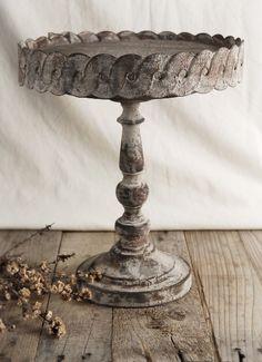Antiqued  Metal 11 in. Round Pedestal Cake Stand