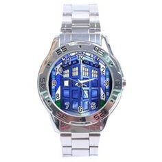 pane glass TARDIS Stainless Steel Watch (Men s) by Deathblo