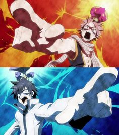 Fairy Tail Fantasy Anime Natsu Dragneel and Gray Fullbuster
